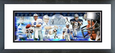 Troy Aikman Framed / Double Matted Photoramic