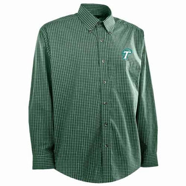 Tulane Mens Esteem Check Pattern Button Down Dress Shirt (Team Color: Green)