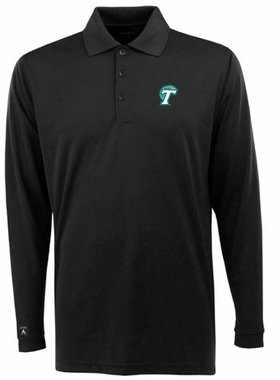 Tulane Mens Long Sleeve Polo Shirt (Color: Black)