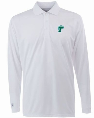 Tulane Mens Long Sleeve Polo Shirt (Color: White)