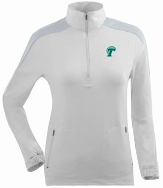Tulane Womens Succeed 1/4 Zip Performance Pullover (Color: White)