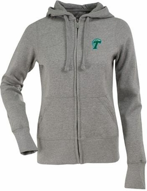Tulane Womens Zip Front Hoody Sweatshirt (Color: Gray)