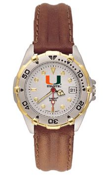 U of Miami All Star Womens (Leather Band) Watch