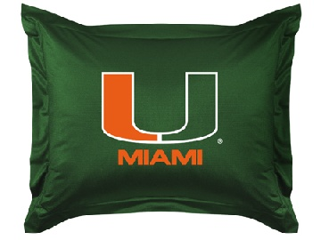 U of Miami Jersey Material Pillow Sham