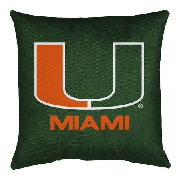 U of Miami Jersey Material Toss Pillow