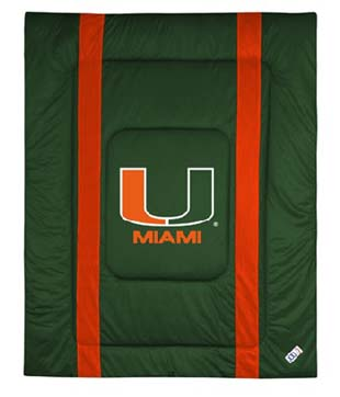 U of Miami SIDELINES Jersey Material Comforter