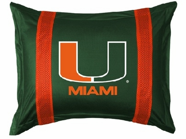 U of Miami SIDELINES Jersey Material Pillow Sham