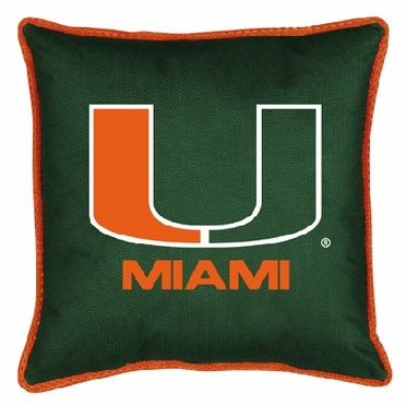 U of Miami SIDELINES Jersey Material Toss Pillow