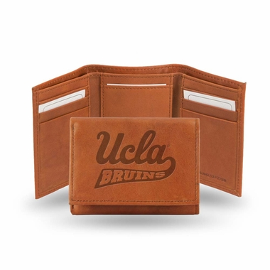 UCLA Embossed Leather Trifold Wallet