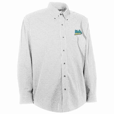 UCLA Mens Esteem Check Pattern Button Down Dress Shirt (Color: White)