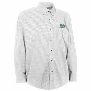UCLA Mens Esteem Check Pattern Button Down Dress Shirt (Color: White) - Medium