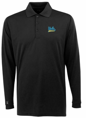 UCLA Mens Long Sleeve Polo Shirt (Team Color: Black)