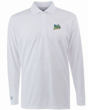 UCLA Mens Long Sleeve Polo Shirt (Color: White)