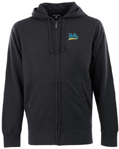 UCLA Mens Signature Full Zip Hooded Sweatshirt (Team Color: Black) - Medium