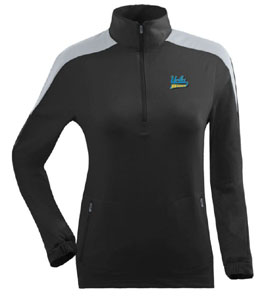 UCLA Womens Succeed 1/4 Zip Performance Pullover (Team Color: Black) - Large