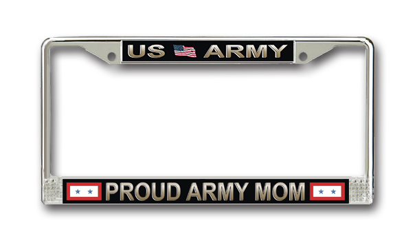 Us Army Proud Mom License Plate Frame With Two Blue Stars