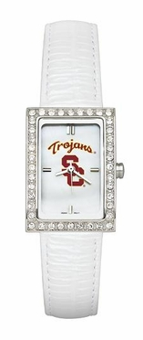 USC Women's White Leather Strap Allure Watch