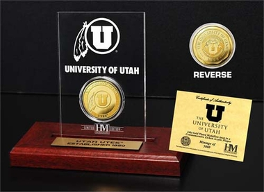 Utah Utes University of Utah 24KT Gold Coin Etched Acrylic