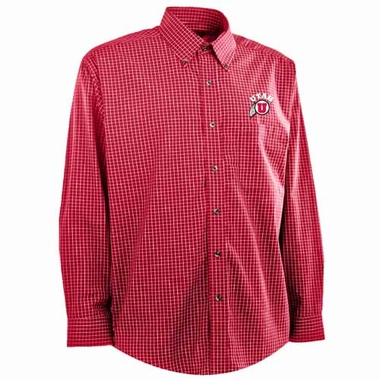 Utah Mens Esteem Check Pattern Button Down Dress Shirt (Team Color: Red)