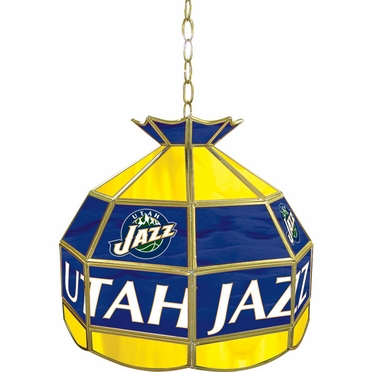 Utah Jazz 16 Inch Diameter Stained Glass Pub Light