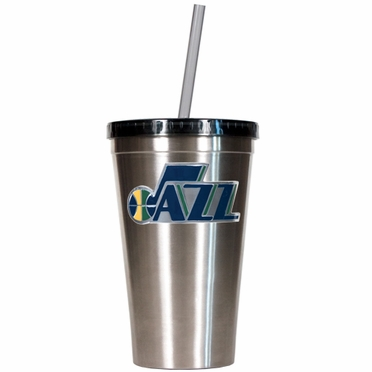 Utah Jazz 16oz Stainless Steel Insulated Tumbler with Straw