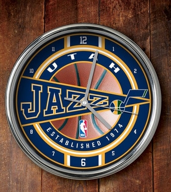 Utah Jazz Chrome Clock