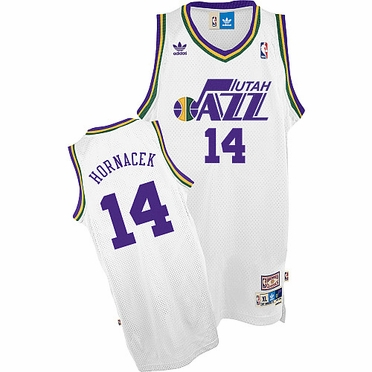 Utah Jazz Jeff Hornacek White Throwback Replica Premiere Jersey