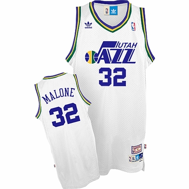 Utah Jazz Karl Malone Adidas White Throwback Replica Premiere Jersey