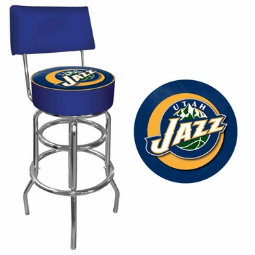 Utah Jazz Padded Bar Stool with Back