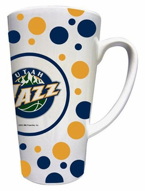 Utah Jazz Polkadot 16 oz. Ceramic Latte Mug