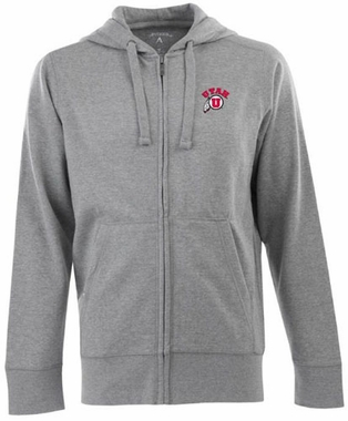 Utah Mens Signature Full Zip Hooded Sweatshirt (Color: Gray)