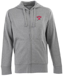 Utah Mens Signature Full Zip Hooded Sweatshirt (Color: Gray) - Large