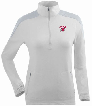 Utah Womens Succeed 1/4 Zip Performance Pullover (Color: White)
