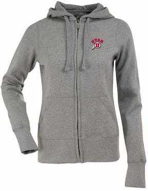 Utah Womens Zip Front Hoody Sweatshirt (Color: Gray)