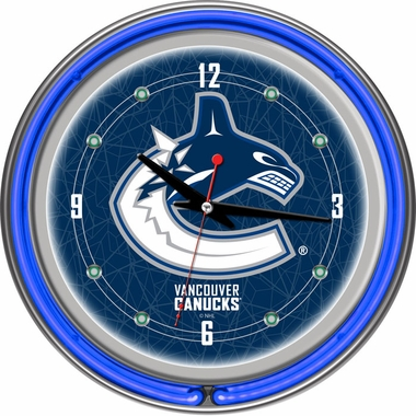 Vancouver Canucks 14 Inch Neon Clock