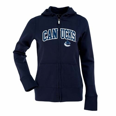 Vancouver Canucks Applique Womens Zip Front Hoody Sweatshirt (Color: Navy)