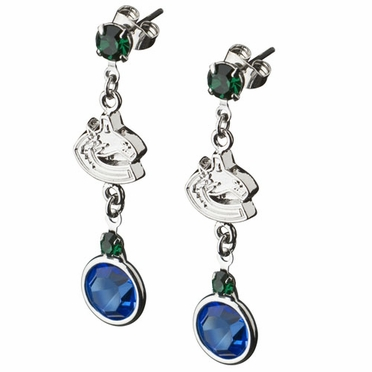 Vancouver Canucks Crystal Logo Dangle Earrings