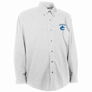 Vancouver Canucks Mens Esteem Check Pattern Button Down Dress Shirt (Color: White)