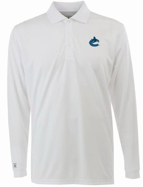 Vancouver Canucks Mens Long Sleeve Polo Shirt (Color: White)