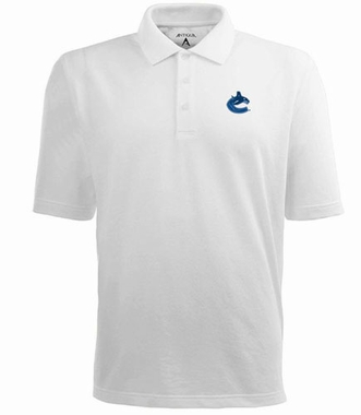 Vancouver Canucks Mens Pique Xtra Lite Polo Shirt (Color: White)