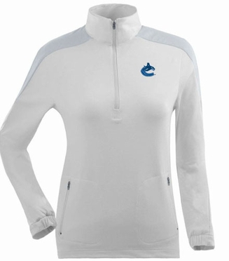 Vancouver Canucks Womens Succeed 1/4 Zip Performance Pullover (Color: White)