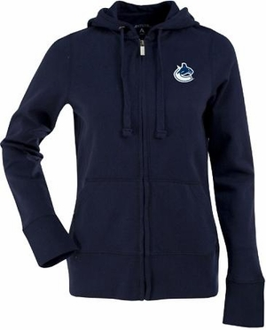 Vancouver Canucks Womens Zip Front Hoody Sweatshirt (Team Color: Navy)