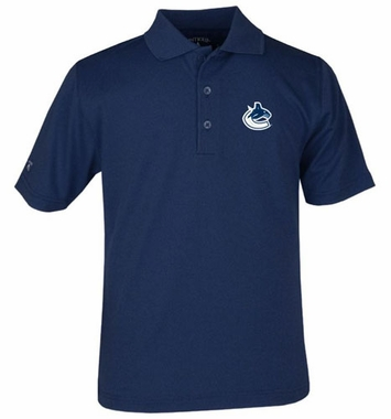 Vancouver Canucks YOUTH Unisex Pique Polo Shirt (Team Color: Navy)
