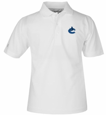Vancouver Canucks YOUTH Unisex Pique Polo Shirt (Color: White)