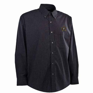 Vanderbilt Mens Esteem Check Pattern Button Down Dress Shirt (Team Color: Black)