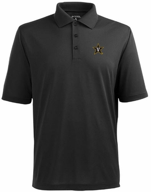Vanderbilt Mens Pique Xtra Lite Polo Shirt (Color: Black)