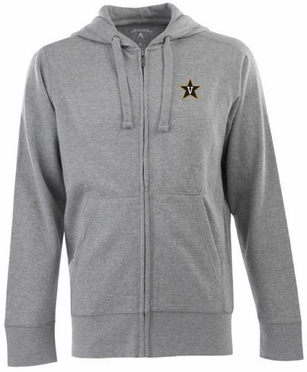 Vanderbilt Mens Signature Full Zip Hooded Sweatshirt (Color: Gray)