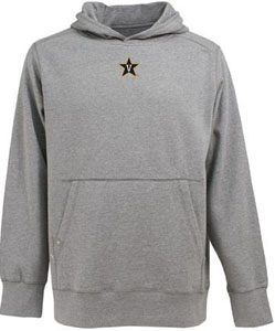 Vanderbilt Mens Signature Hooded Sweatshirt (Color: Gray) - Small