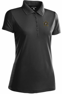 Vanderbilt Womens Pique Xtra Lite Polo Shirt (Color: Black)