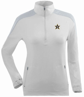 Vanderbilt Womens Succeed 1/4 Zip Performance Pullover (Color: White)